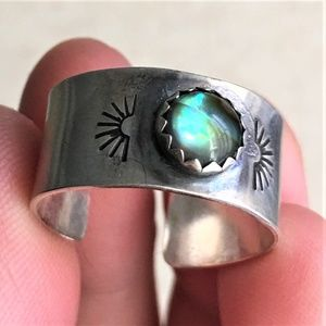 Jewelry - sterling silver abalone cuff ring